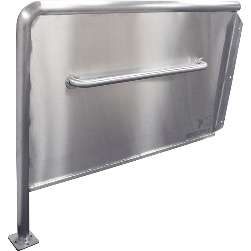 KryptoMax® ADA Compliant Stainless Steel Privacy Panel from front side with grab bar