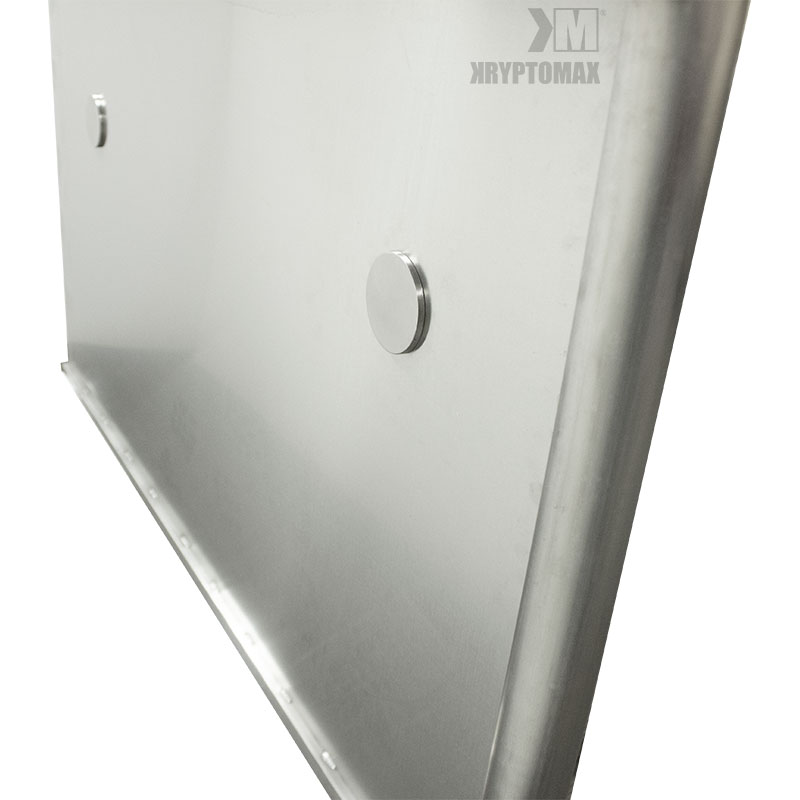 KryptoMax® ADA Compliant Stainless Steel Privacy Panel viewed from rear side showing grab bar mounting