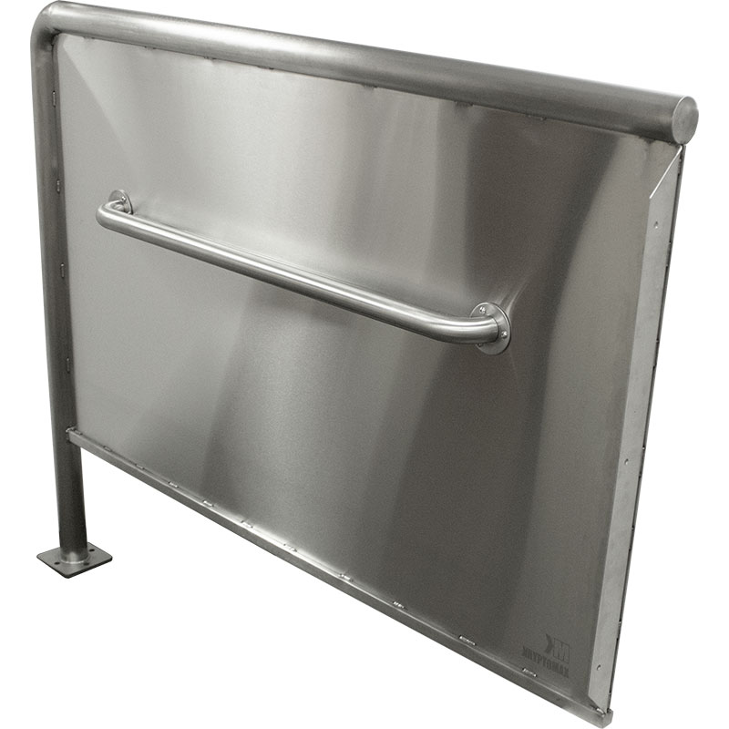 KryptoMax® ADA Compliant Stainless Steel Privacy Panel showing wall flange detail