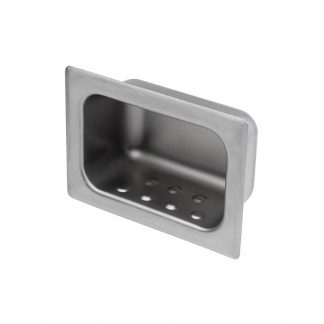 KryptoMax® stainless steel recessed soap receptacle shown at an angle highlighting raised dimples for holding soap and allowing air circulation