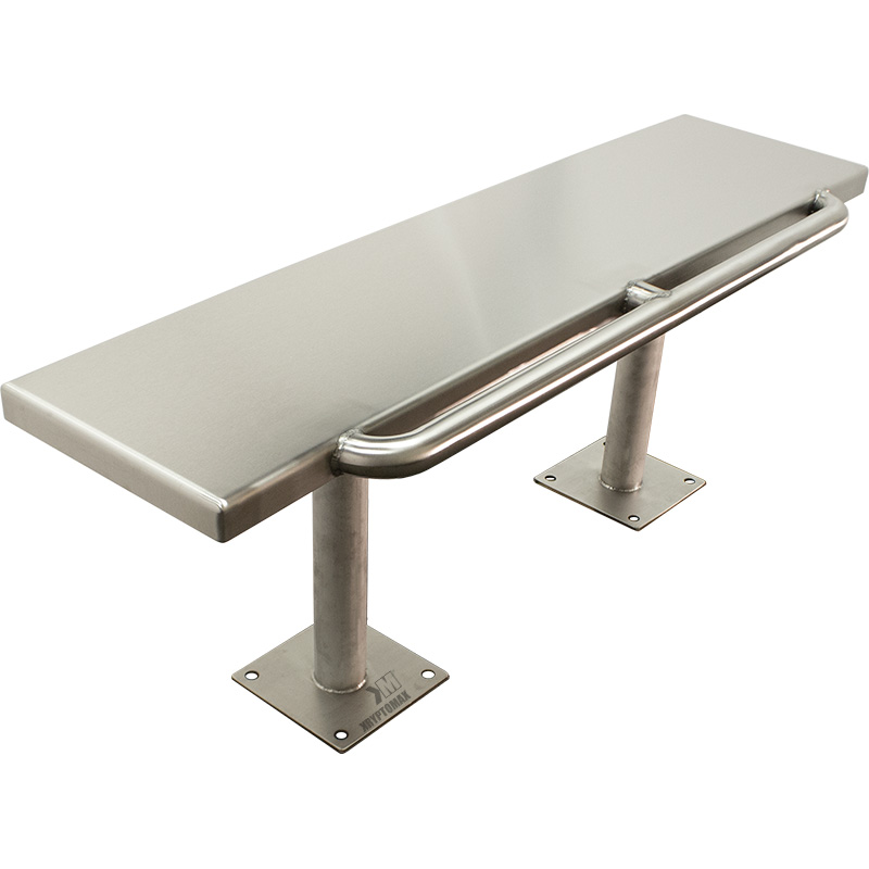 Left side angled view of the front of the KryptoMax® Stainless Steel Floor Mount Detention Bench with Handcuff Bar