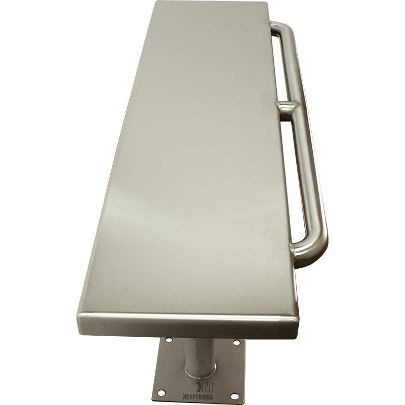 Top side view from end of the KryptoMax® Stainless Steel Floor Mounted Detention Bench with Restraint Bar