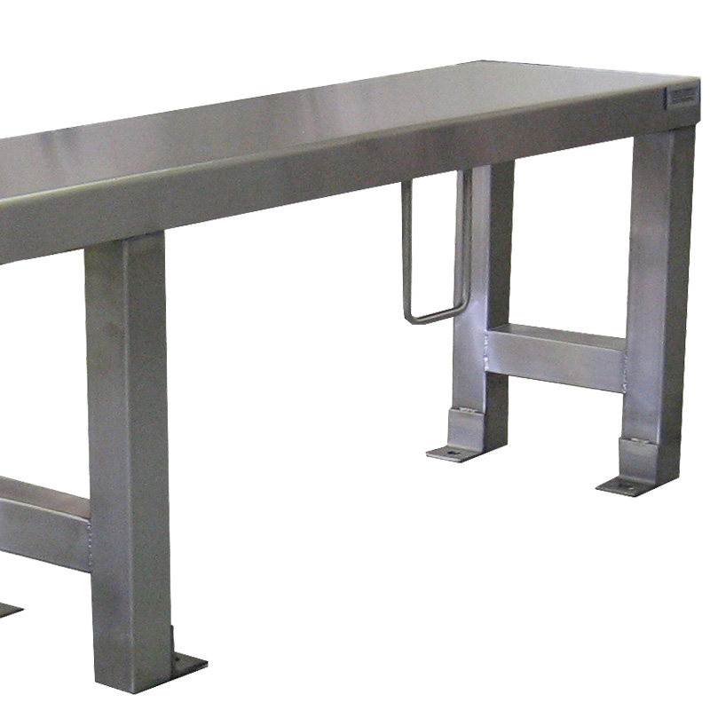 close-up view of base at end of the bench on the KryptoMax® Stainless Steel Heavy Duty Floor Mounted Prison Bench