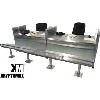 KryptoMax® Custom Stainless Steel Intake Processing Desks shown with stainless steel benches placed in front and set up with desk props and chairs to show how they can be used
