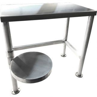 KryptoMax® Stainless Steel Detention Desk with Swivel Stool shown from front with stool positioned outward