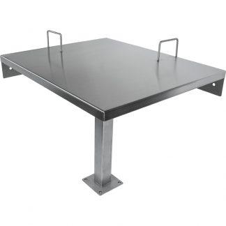 KryptoMax® Corner Desk with Two Restraint Rings viewed from corner of the desk