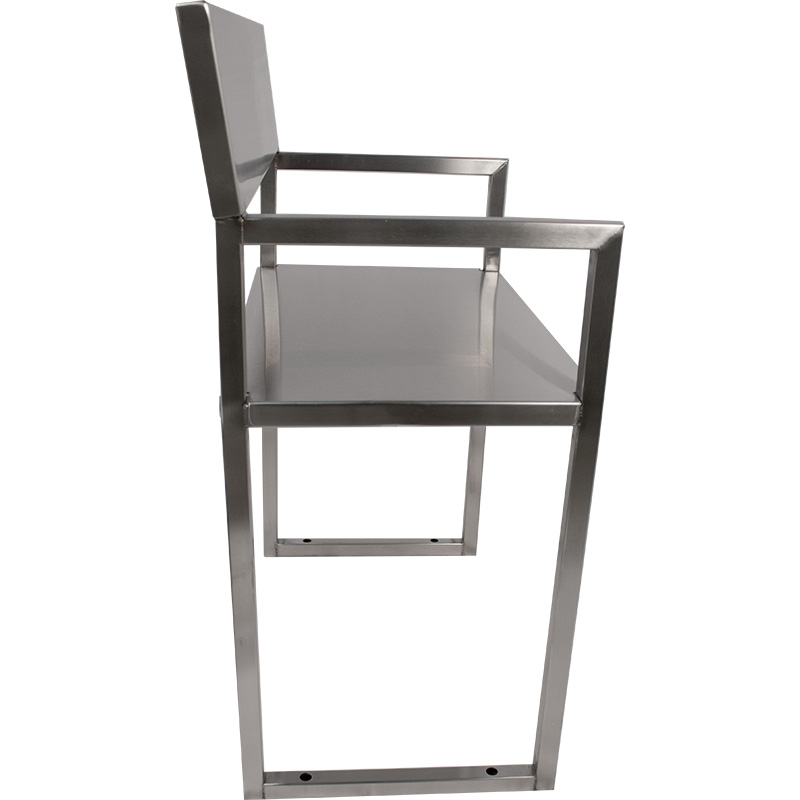 KryptoMax® Stainless Steel ADA-Compliant Interview Chair viewed from side showing floor mount holes at base of the chair