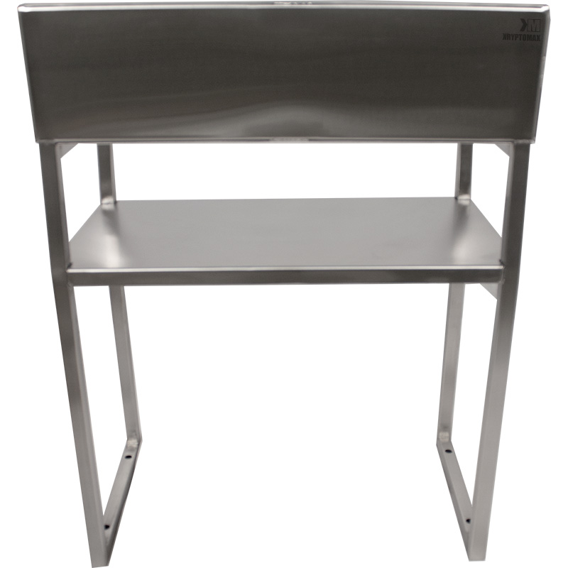 KryptoMax® Stainless Steel ADA-Compliant Interview Chair backside viewed straight on