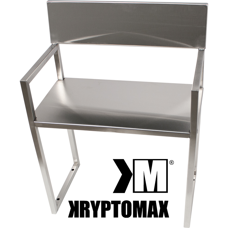 Main product view of the KryptoMax® Stainless Steel ADA-Compliant Interview Chair with the KryptoMax logo underneath