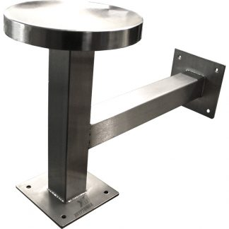 Side view of the KryptoMax® stainless steel floor and wall mounted stool