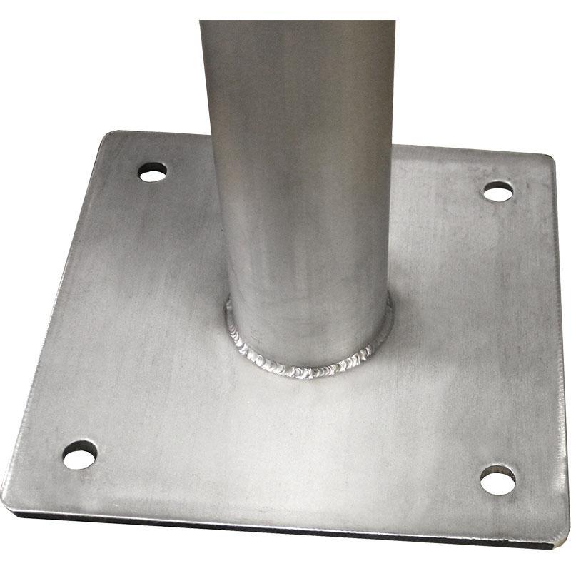 Close-up detail of KryptoMax® stainless steel floor plate on stool bottom
