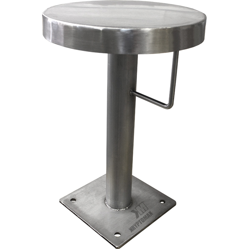 KryptoMax® stainless steel floor mounted stool with handcuff restraint ring shown from side with KryptoMax logo embedded on floor plate