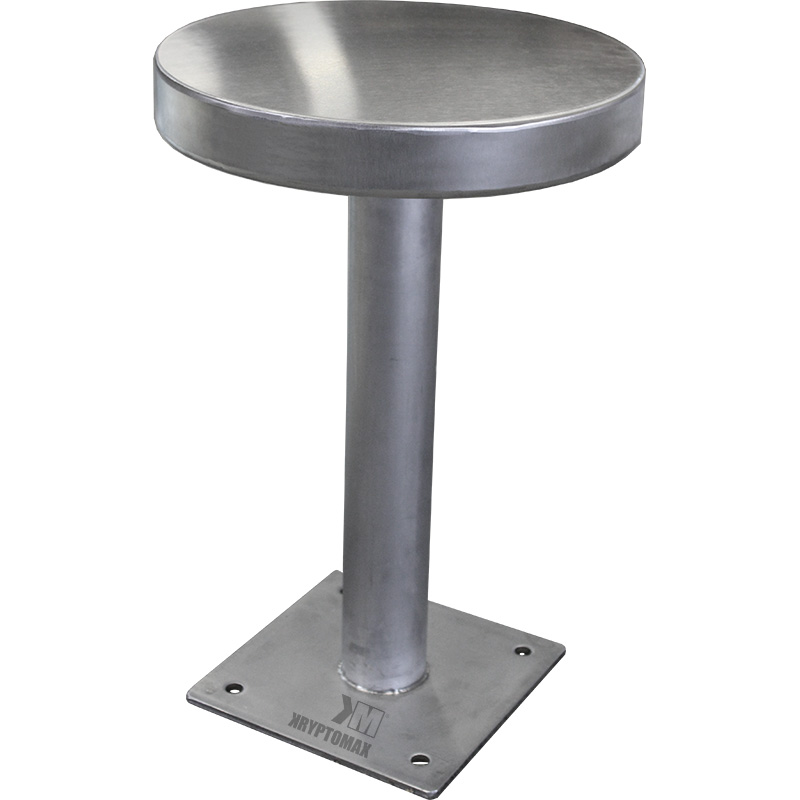 Standard KryptoMax® stainless steel floor mounted prison stool (Part Number: KM-FMS) without restraint ring