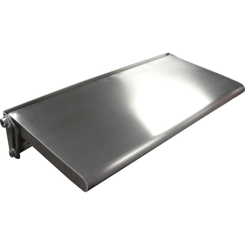 KryptoMax® Stainless Steel Fold-Up Wall Desk view of front edge and desk top