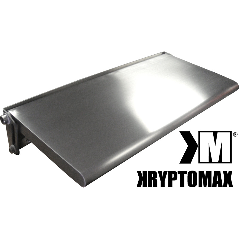 KryptoMax black and white logo shown next to the KryptoMax® Stainless Steel Fold-Up Wall Desk