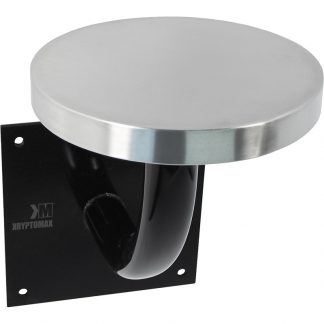 Black powder coated pedestal and wall-mount plate with stainless steel stool top version of the KryptoMax® Stainless Steel Wall Mounted Detention Stool