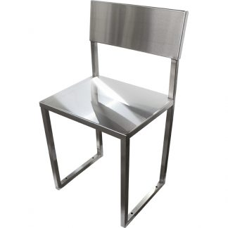 The KryptoMax® corrections bolt-to-floor stainless steel interviewing chair shown from front with chair angled to right side