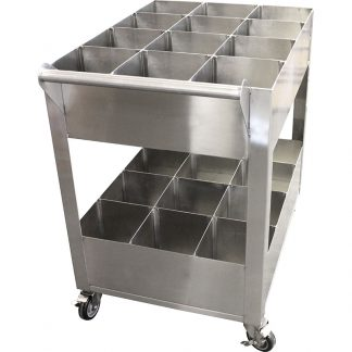 KryptoMax® Stainless Steel Detention Kitchen Utility Cart shown from handle side