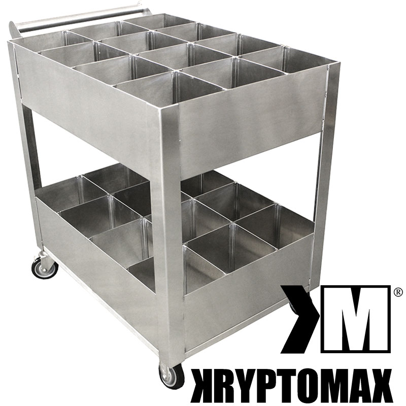 KryptoMax® Stainless Steel Detention Kitchen Utility Cart shown from handle side with KryptoMax logo superimposed on image