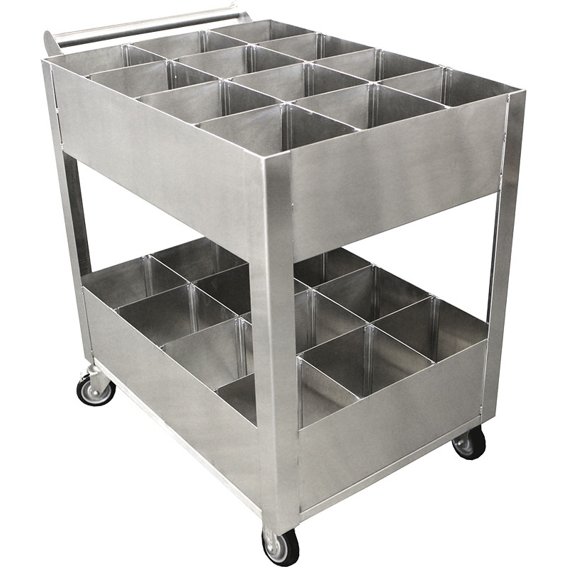 KryptoMax® Stainless Steel Corrections Kitchen Utility Cart front side view