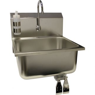 Stainless steel wall-mounted kitchen wash sink with knee pedal controls shown from front