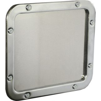 KryptoMax® Stainless Steel Small Detention Mirror shown from front with optional installation hardware
