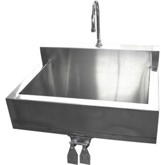 Main product image of the KryptoMax® stainless steel detention scrub sink with knee-operated controls