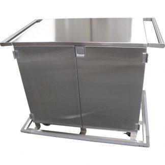 KryptoMax® Stainless Steel 2 Door Corrections Medical Cart as viewed from doors side