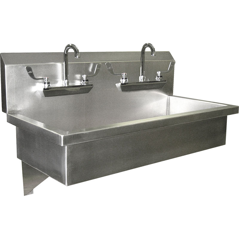 KryptoMax® Stainless Steel Wall Mount Double Station Wash Sink with two gooseneck faucets and wing handles