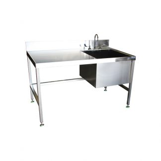 Front view of the KryptoMax® Stainless Steel Kitchen Sink Table shown with gooseneck faucet option