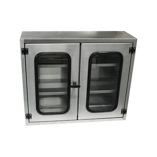 Small KryptoMax® Stainless Steel Kitchen Storage Cabinet with viewing windows shown from front