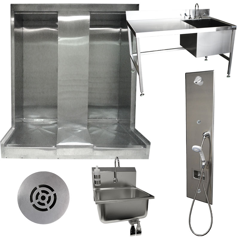Image of KryptoMax® stainless steel corrections tamper-resistant drain, prison shower enclosure, ADA-compliant shower panel, and handwash sink
