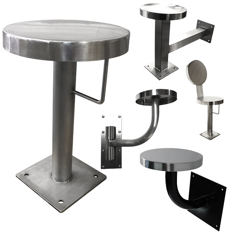 various KryptoMax® stainless steel corrections stools shown