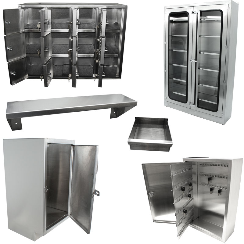 Product category image of various KryptoMax® stainless steel cabinets, lockers, shelves and other storage solutions for intensive use