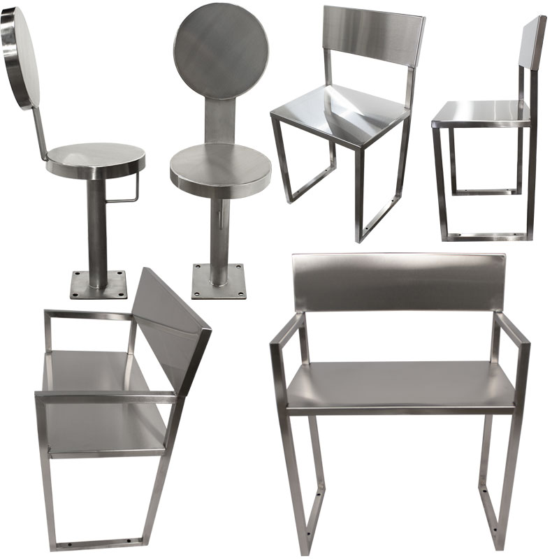 Product category images of various KryptoMax® stainless steel chairs for intensive use