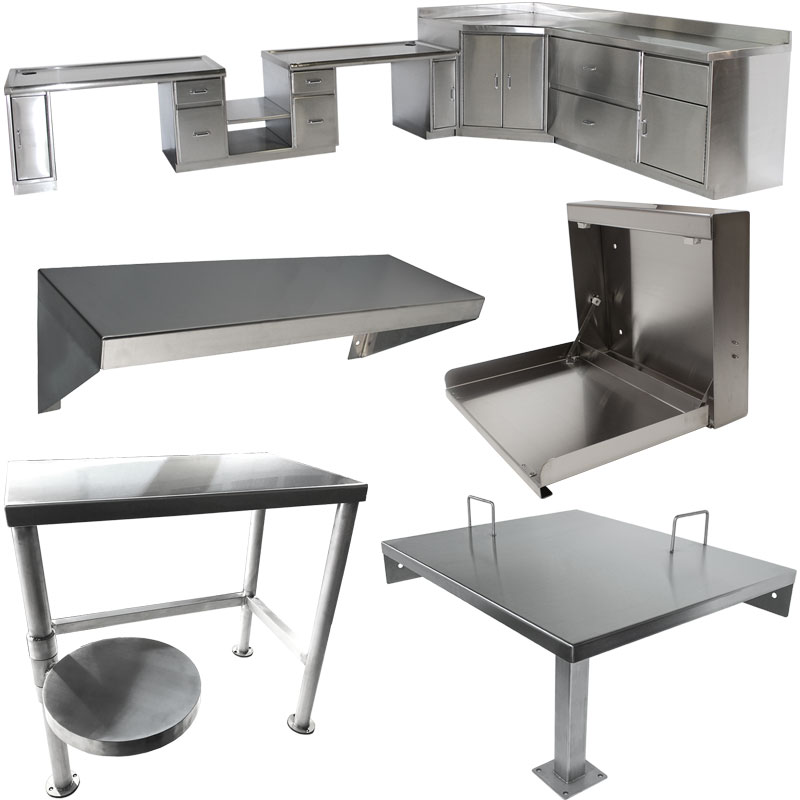 image of several desk types for the KryptoMax® stainless steel intensive use desks category