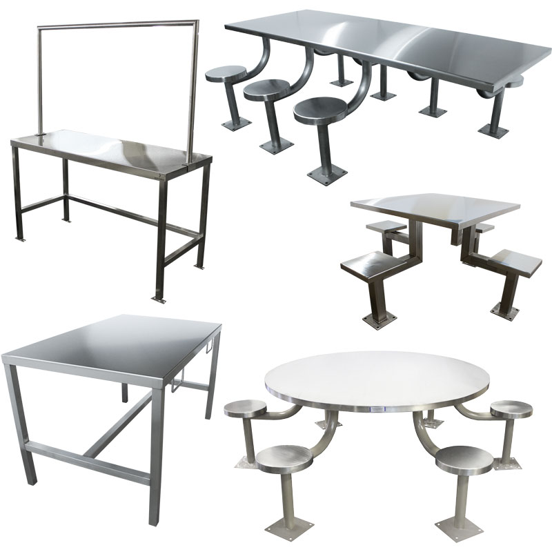 KryptoMax® stainless steel intensive use tables category with various interviewing tables, dining tables, recreation tables, and more shown