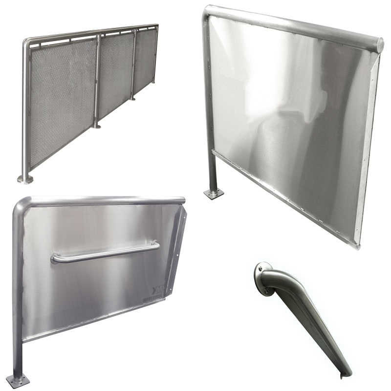 Product category image of various KryptoMax® stainless steel privacy panels, privacy screens, security dividers, and crowd control barrier solutions for intensive use