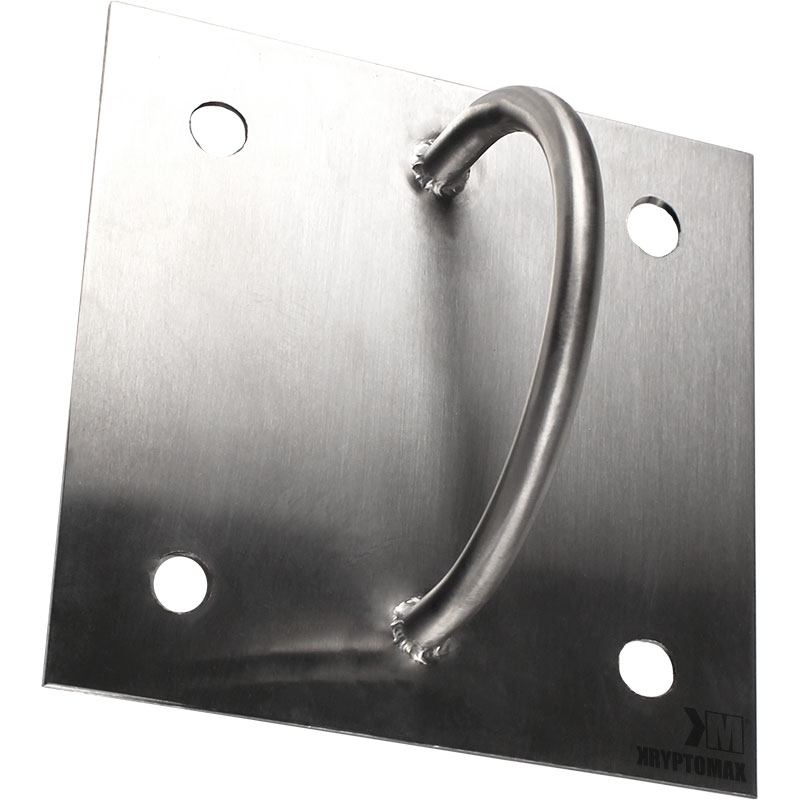 KryptoMax® Stainless Steel Wall-Mount Handcuff Attachment Ring shown from front at an angle