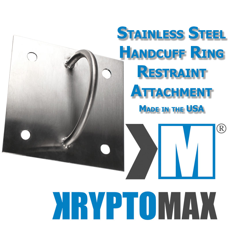 KryptoMax® Stainless Steel Detention Handcuff Ring shown with product text and KryptoMax logo