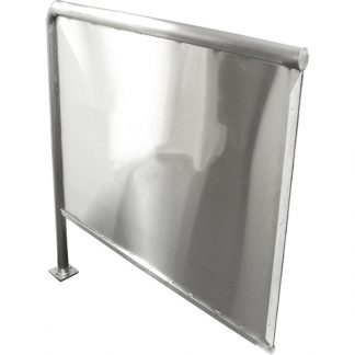 KryptoMax® Stainless Steel Privacy Panel shown from wall-mount flange side at an angle