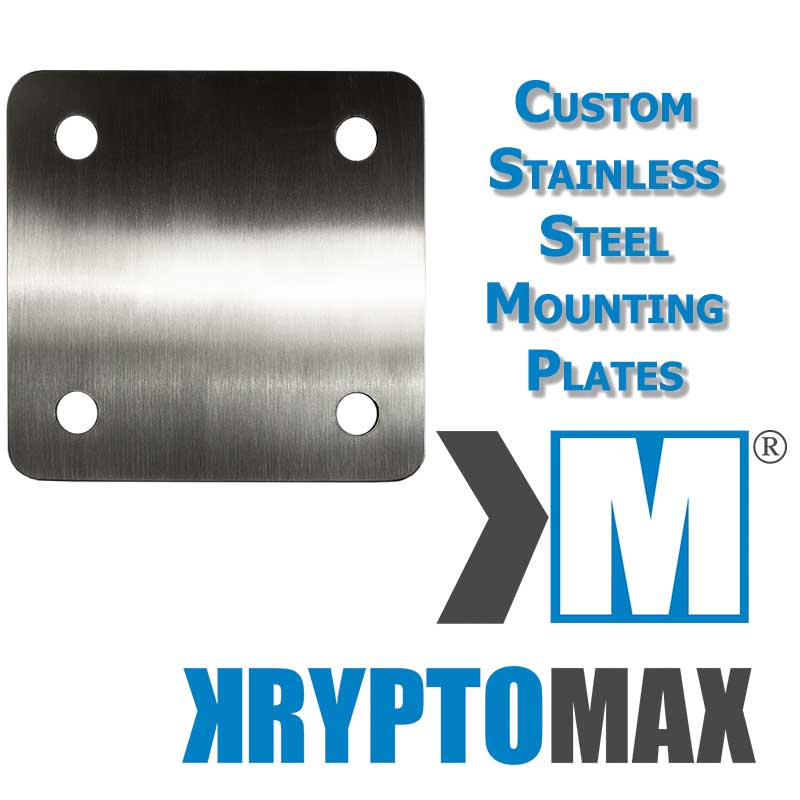 Custom KryptoMax® Stainless Steel Wall-Mount Plate shown with product description text and KryptoMax logo