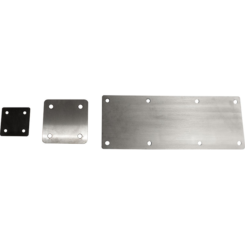 Image of 3 various KryptoMax® Stainless Steel Wall-Mount Plate customized for different applications