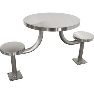 KryptoMax® stainless steel 2 seat round detention table shown from above viewing side of table positioned slightly angled