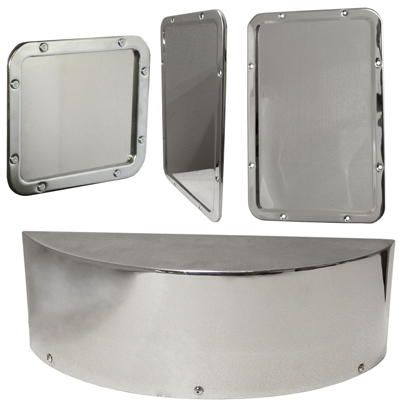 Image for the KryptoMax® stainless steel corrections tamper-resistant mirrors product category, includes: the small detention inmate mirror, large detention mirror, and curved surveillance mirror