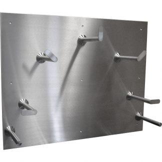 KryptoMax® Stainless Steel Hose Rack shown from left angle